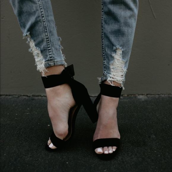 e858e28c64c ✨Briella Black Faux Suede Ankle Strap Heel